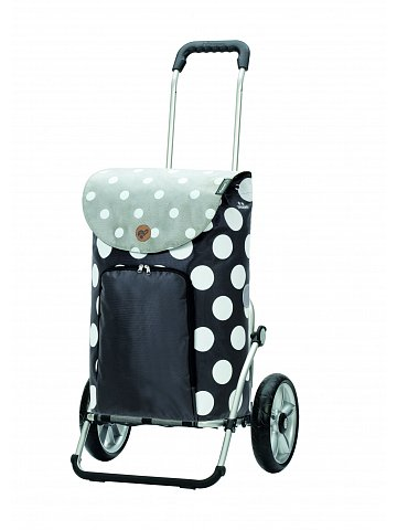 Nákupní taška na kolečkách Andersen Royal Shopper® Dots, šedá, 41l, kolečka s kuličkovými ložisky