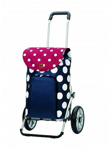 Nákupní taška na kolečkách Andersen Royal Shopper® Dots, modrá, 41l, kolečka s kuličkovými ložisky