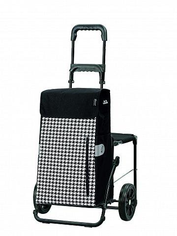 Nákupní taška na kolečkách se sedátkem Andersen KOMFORT SHOPPER® TILLY, černá