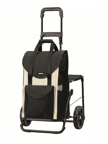 Nákupní taška se sedátkem Andersen KOMFORT SHOPPER® SENTA, černo-bílá