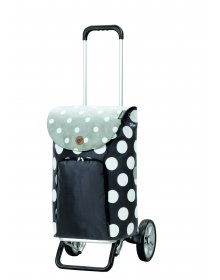 Nákupní taška na kolečkách Andersen Alu Star Shopper Dots, šedá, 41l