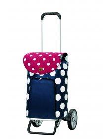 Nákupní taška na kolečkách Andersen Alu Star Shopper Dots, modrá, 41l