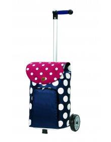Nákupní taška na kolečkách Andersen Unus Shopper Dots modrá
