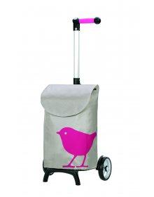 Nákupní taška Andersen UNUS SHOPPER® FUN BIRD, růžová