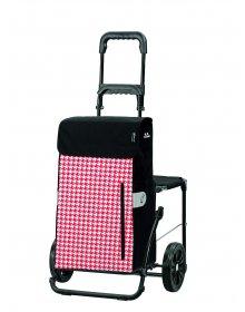 Nákupní taška na kolečkách se sedátkem Andersen KOMFORT SHOPPER® TILLY, červená